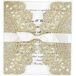 FEIYI 25 Pieces Laser Cut Lace Flower Pattern With Free Self-adhesive Bowknot Ribbons Wedding Invitations Cards For Birthday Baby Shower Wedding Rehearsal Dinner Invite(Rose Gold Glitter)