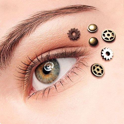 Steampunk Hats | Top Hats | Bowler Steampunk Gothic Eye Decals Womens Perfect For Steampunk Clothing Accessories Dress Up Clock Parts Steampunk Gears 6pcs $10.99 AT vintagedancer.com