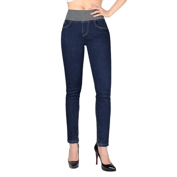 RONHAN Invierno de Las Mujeres Slim Fit Fleece Forrado Skinny Stretch Jeans Ajustados de Cintura Alta Jeans de Mezclilla Gruesa Pantalones Leggings ...