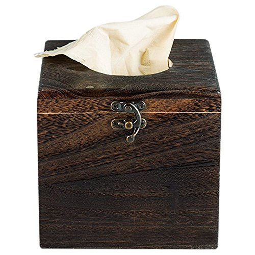 TOOGOO(R) Wood Tissue Box Napkin Cover Home Hotel Pub Cafe Car Paper Holder Case
