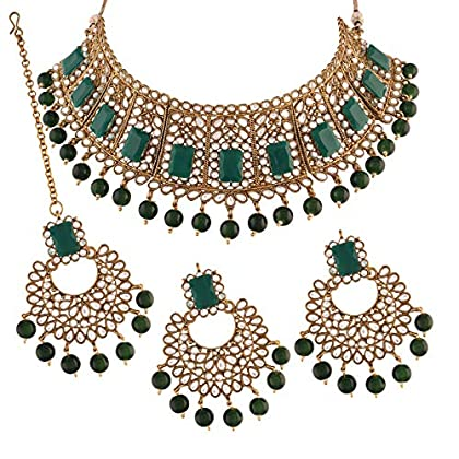 I Jewels Traditional Gold Plated Kundan & Beads Choker Necklace Set with Maang Tiika for Women
