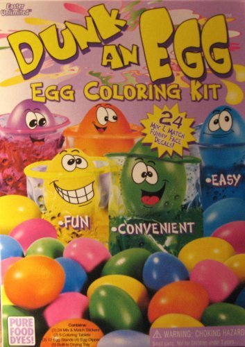 Dunk An Egg: - Egg Coloring Kit - 24 Decals - 5 Colors