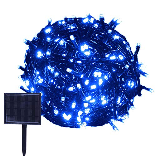 RPGT Solar String Lights 23m 200LED USB Charging Fairy String Lights Waterproof 8 Modes Solar Powered Starry Lighting (Blue) for Outdoor Christmas Tree Garden Path Wedding Party Holiday Decoration