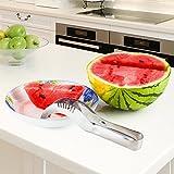 Stainless Steel Watermelon Fruit Slicer, Corer & Server – Create Fruit Baskets, Fruit Salad & Edible Arrangements – Home Kitchen Tool Makes Delicious, Kid Friendly Summer Fruit Snacks BY REVILO GOODS