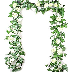Romote 2.5M Simulation Rose Flower Rattan Artificial Flower Vine Silk Wisteria Garland Hanging Rattan for Wedding Arch Garden Wall Decor Home Decor-1pc 7