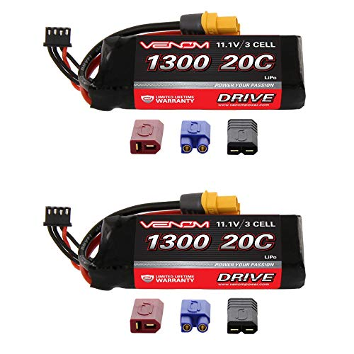 Venom 20C 3S 1300mAh 11.1 LiPO Battery with Universal Plug (2-Pack)