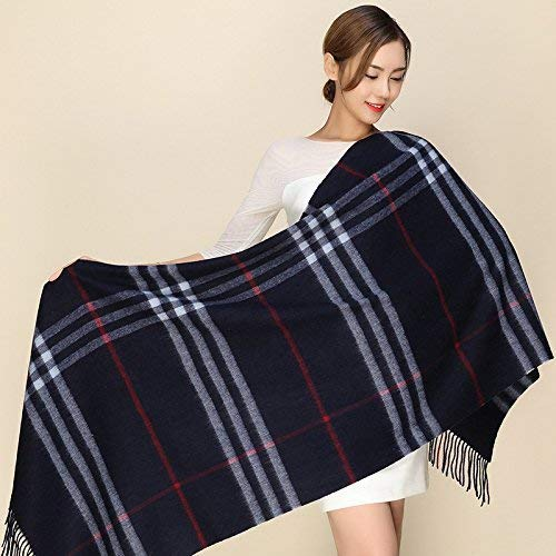D JINGB Home ScarfPlaid Shawl Winter and Winter Thickening Shawl Imitation Cashmere Scarf Female Autumn and Winter Korean Students Knitted Shawl Long (color   H)