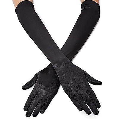 "QNPRT 1920s Opera Satin Long Gloves 19.5"" Elbow Length 12BL"