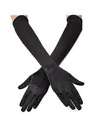 "QNPRT 1920s Opera Satin Gloves 19.5"" Elbow Length 12BL"
