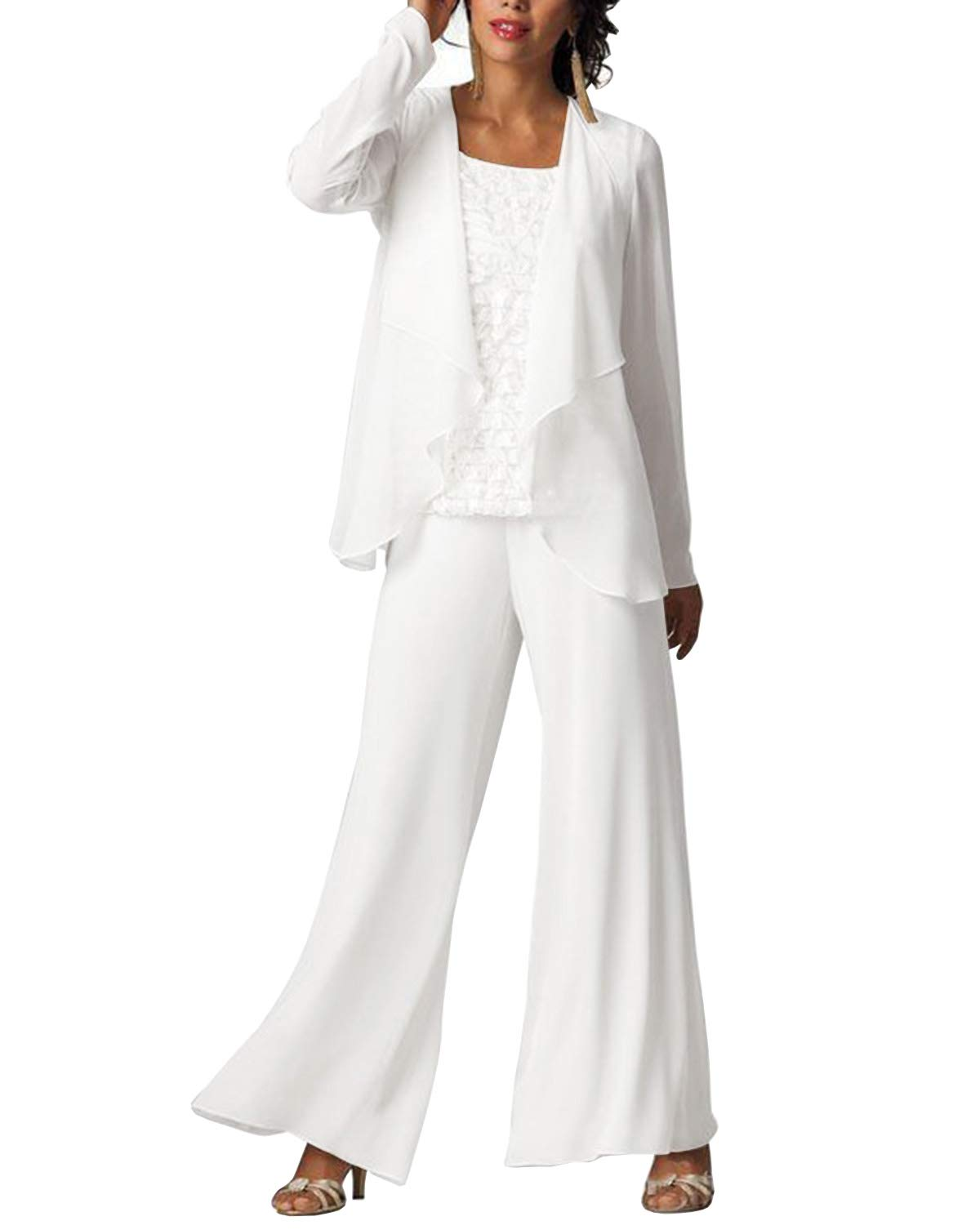 enjoy big discount cheap price various styles Women's Mother of Bride Dress Outfits Pant Suits Elegant Formal Chiffon  Plus Size 3 Pieces for Wedding(US20Plus,White)
