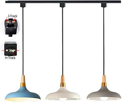 STGLIGHTING 3-Lights Dimmable Track Pendant Light for H-Type Macaron Grey White Sky Blue Metal Lamp Shade Customizable Halo Track Lighting Fixtures Modern Style Pendant Lamp for Restaurant Cafe