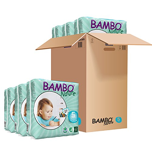 Bambo Nature Eco Friendly Baby Diapers Classic for Sensitive Skin, Size 5 (26-49 lbs), 162 Count (6 Packs of 27)