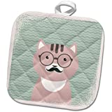 3dRose Andrea Haase Animals Illustration - Cute clever hipster cat with glasses and mustache - 8x8 Potholder (phl_262991_1)