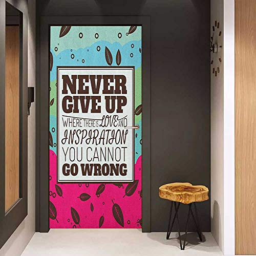 (Toilet Door Sticker Quote Never Give Up Theme Motivational Phrase in Frame Falling Autumn Leaves Retro Glass Film for Home Office W17.1 x H78.7 Magenta Aqua Brown)
