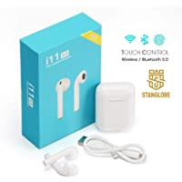 Stanglobe® TWS i11 5.0 Wireless Earphone with Portable Charging Case Supporting All Smart Phones and Android Phones with Sensor (White)