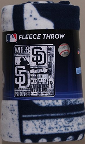 The Northwest Company MLB San Diego Padres Printed Fleece Throw, One Size, Multicolor