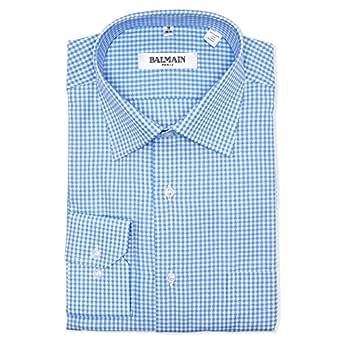 Balmain Blue & White Shirt Neck Shirts For Men