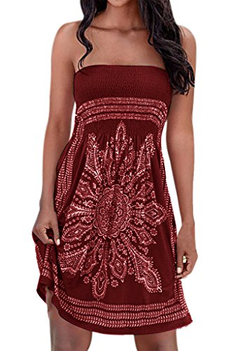 Sexy Floral Print Flowy Hem Boho Loose Mini Cover Up Tube Dresses Wine Red S
