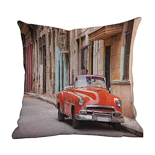Matt Flowe Sofa Pillow Covers,Cars,Classical American Car in a Street with Ancient Houses Caribbeans Havana Cuba,Orange Sand Brown,with Hidden Zipper Cushion Covers22 x22