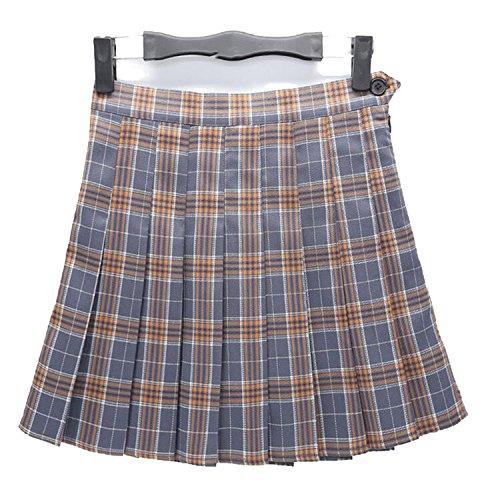 Plaid Skirt High Waist Pleated Skater Skirt A-line School Skirt Uniform with Inner Shorts Skirt,Gray Plaid,M ()