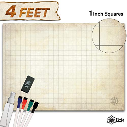 Battle Grid Game Mat - Ultra Durable Polymer Material - Role Playing DND Map - Reusable Tabletop Square Mats - RPG Dungeons and Dragons Dry Erase Vinyl - Large Set for Starters and Masters 34.5x48 (Battle Masters Board Game)