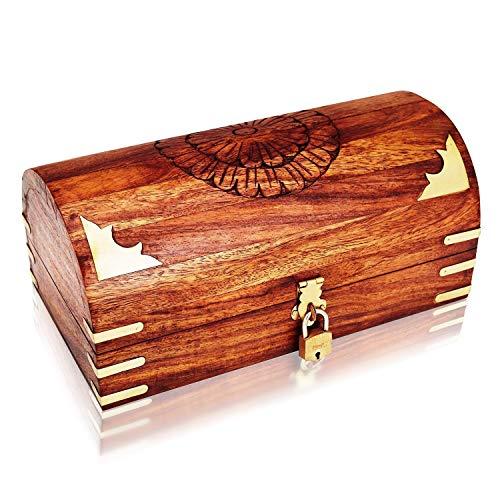 Unique Fathers Day Gifts Handmade Decorative Wooden Jewelry Box With Free Lock & Key Jewelry Organizer Keepsake Box Treasure Chest Trinket Holder Lock Box Watch Box 9 x 5 ()