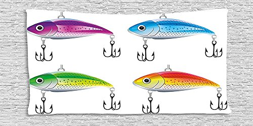Trout Pool Table (Cotton Microfiber Bathroom Towels Ultra Soft Hotel SPA Beach Pool Bath Towel Fishing Collection of Fishing Lures in Trout Shape Trap Sea Mammals Creatures Picture)