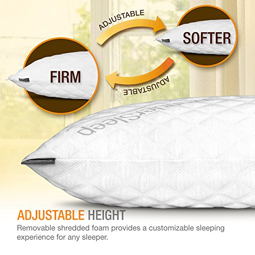 WonderSleep PREMIUM Adjustable Loft [Queen Size 2-Pack] - Shredded Hypoallergenic Memory Foam Pillow For Home & Hotel Collection + Washable Removable Cooling Bamboo Derived Rayon Cover - 2 Pack Queen - bedroomdesign.us