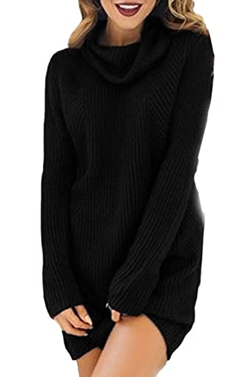 4b853d4bf39 Fasumava Womens Knit Sweater Dress Winter Casual Turtleneck Solid Mini  Dresses Black S