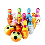 Pawaca Kids Bowling Play Set, Light Weight PU Soft Foam Toy Gifts, 10 Pins 2 Balls Indoor Outdoor Sports Bowling Toy Play Sets