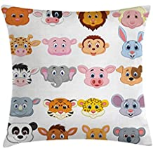 Cartoon Throw Pillow Cushion Cover by Ambesonne, Kids Themed Baby Cute Animals Lions Pigs Cows Farm Safari Baby Nursery Room Image, Decorative Square Accent Pillow Case, 36 X 36 Inches, Multicolor
