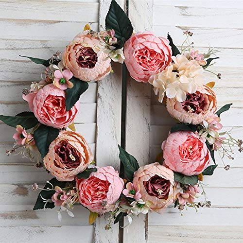 Large Artificial Flowers Front Door Wreath,16