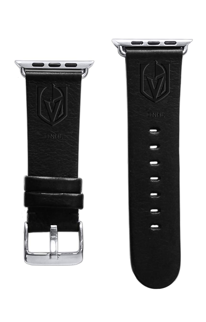 Game Time Vegas Golden Knights Premium Leather Band Compatible with Apple Watch