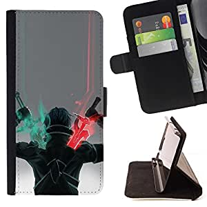 For Sony Xperia m55w Z3 Compact Mini Sword Warrior Art Game Character Drawing Beautiful Print Wallet Leather Case Cover With Credit Card Slots And Stand Function