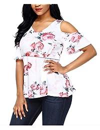chulianyouhuo Women Maternity Off Shoulder Floral Summer Breastfeeding & Nursing Tops