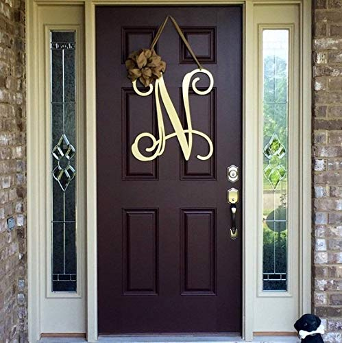 WoodSign MarthaFox Metal Initial Door Wreath w/Ribbon, Front Door Wreaths, Monogram Door Hanger, Monogrammed Wreath, Front Door Letters, Outdoor Wreath, Decor Unfinished Wood ()