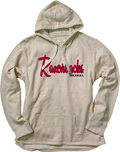 Blue 84 NCAA Arkansas Razorbacks Women's French Terry Pullover Hoodie with Applique, Medium, Oatmeal Arkansas Razorbacks Ncaa Applique