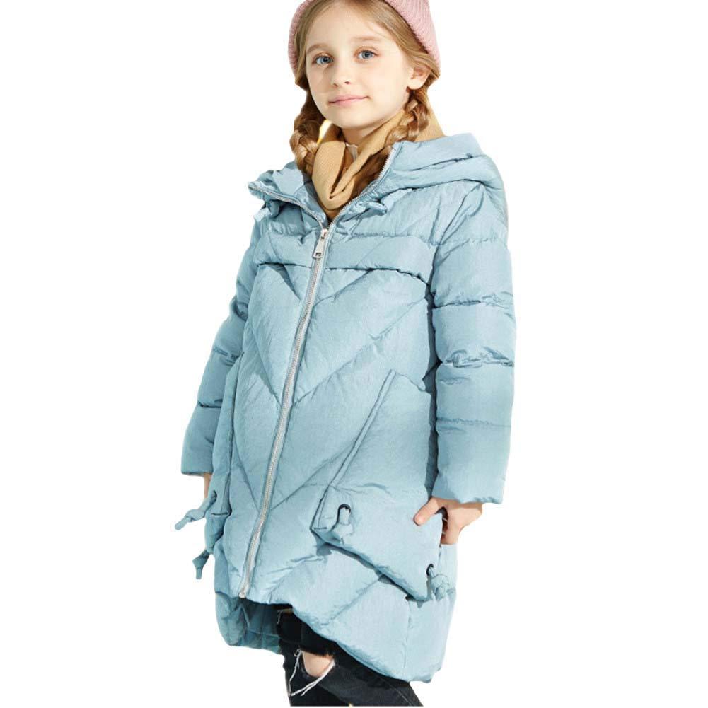 bleu 140cm RSTJ-Sjc Manteau Moyen Long de Veste de Filles de Filles, Outwear irrégulier de Conception de Mode de Ourlet, Manteau idéal d'hiver d'enfants