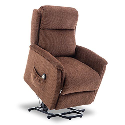 Reclining Medical Chairs - BONZY Lift Recliner Power Lift Chair Soft and Warm Fabric with Remote Control for Gentle Motor - Chocolate