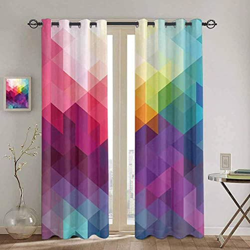 Soundproof Curtains – Rainbow Colorful Abstract Geometric Pattern with Triangles Polygon and Ohter Shapes Rainbow – Kids Room Living Room Dorm – 84×84 Inch – Multicolor