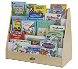 ECR4Kids Birch Hardwood Pic-A-Book Stand with Dry Erase White Board and Storage, Natural