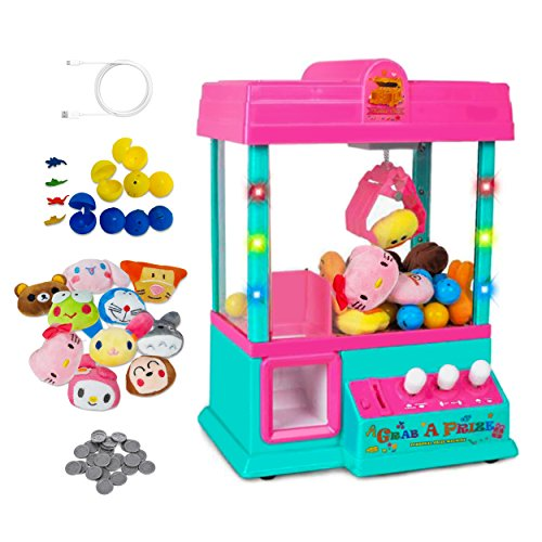 (Claw Home Arcade Game Prize Grabber Carnival LED Lights Animation Adjustable Sounds USB Port Cable with 10 Plush Toys and 12 Filled Eggs)