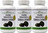 Pure Graviola Soursop Capsules 1000 mg per serving (3 Bottle Pack) AKA: Soursop Fruit, High Antioxidants, Fights Bacteria, Reduces Inflammation