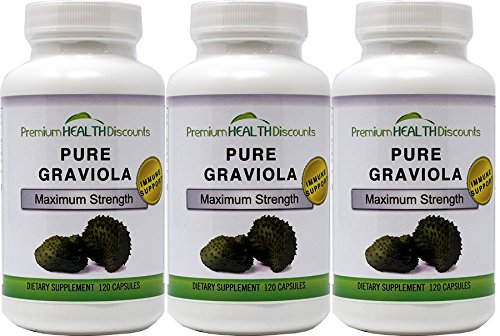 Pure Graviola Soursop Capsules 1000 mg per serving (3 Bottle Pack) AKA: Soursop Fruit, High Antioxidants, Fights Bacteria, Reduces Inflammation Review