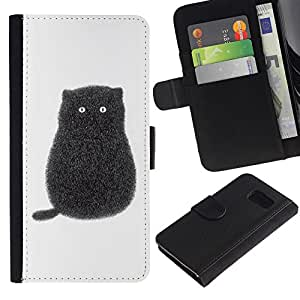 iKiki Tech / Cartera Funda Carcasa - Black Cartoon Cat Kitten White Minimalist - Samsung Galaxy S6 SM-G920