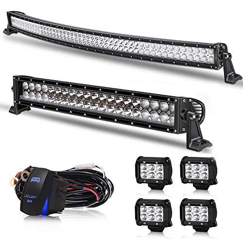 Led Light Bar AUSI 50Inch Curved 288W LED Work Light Bar Spot Flood Combo Off Road Driving Lights + 22 inch Lights Bar +4PCS 4