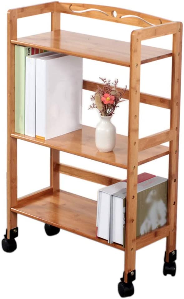 Utility Cart-FQJYNLY Trolley Storage Serving Cart Mobile Shelf Bedroom Bookshelf Multifunction with Brake Universal Wheel Height Adjustable Easy to Install Living Room Kitchen, Brown, 8 Sizes