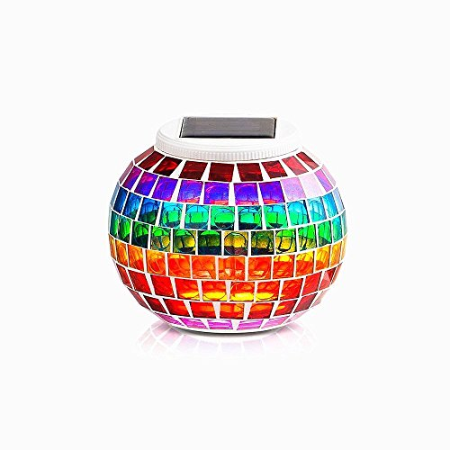 Waterproof Color Changing Table Lamp,AMZSTAR Solar Powered Mosaic Glass Ball LED Garden Lawn Night Light Lamps, Party Lights for Home,Yard, Indoor,Outdoor Decoration Lights (Rainbow)