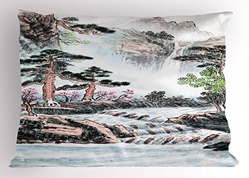 Ambesonne Art Pillow Sham, Mountain And River Painting Effect Pine Trees Floral Design Pencil Drawing Print, Decorative Standard King Size Printed Pillowcase, 36 X 20 Inches, Misty Rose Green (Pine Pillow Mountain Designs)