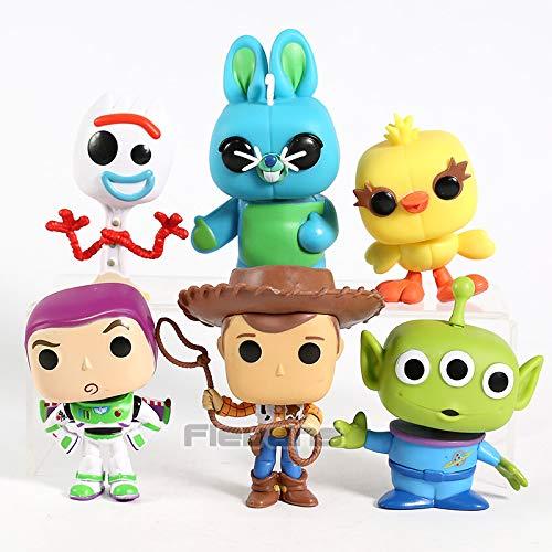 - 10-12cm (3.9-4.7 inch) - 6pcs/Set Woody Buzz Lightyear Alien Forky Ducky Bunny PVC Figures Toys Big Head Dolls